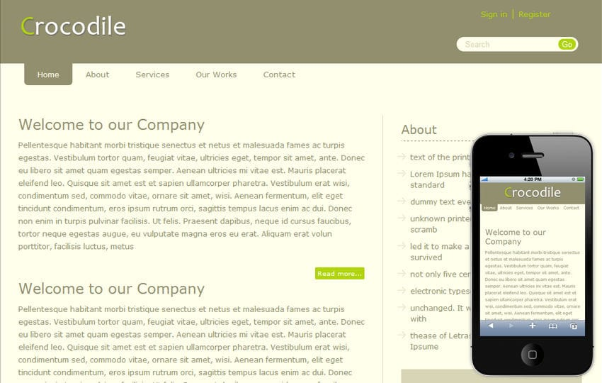 Crocodile Blog Mobile and web Free Template