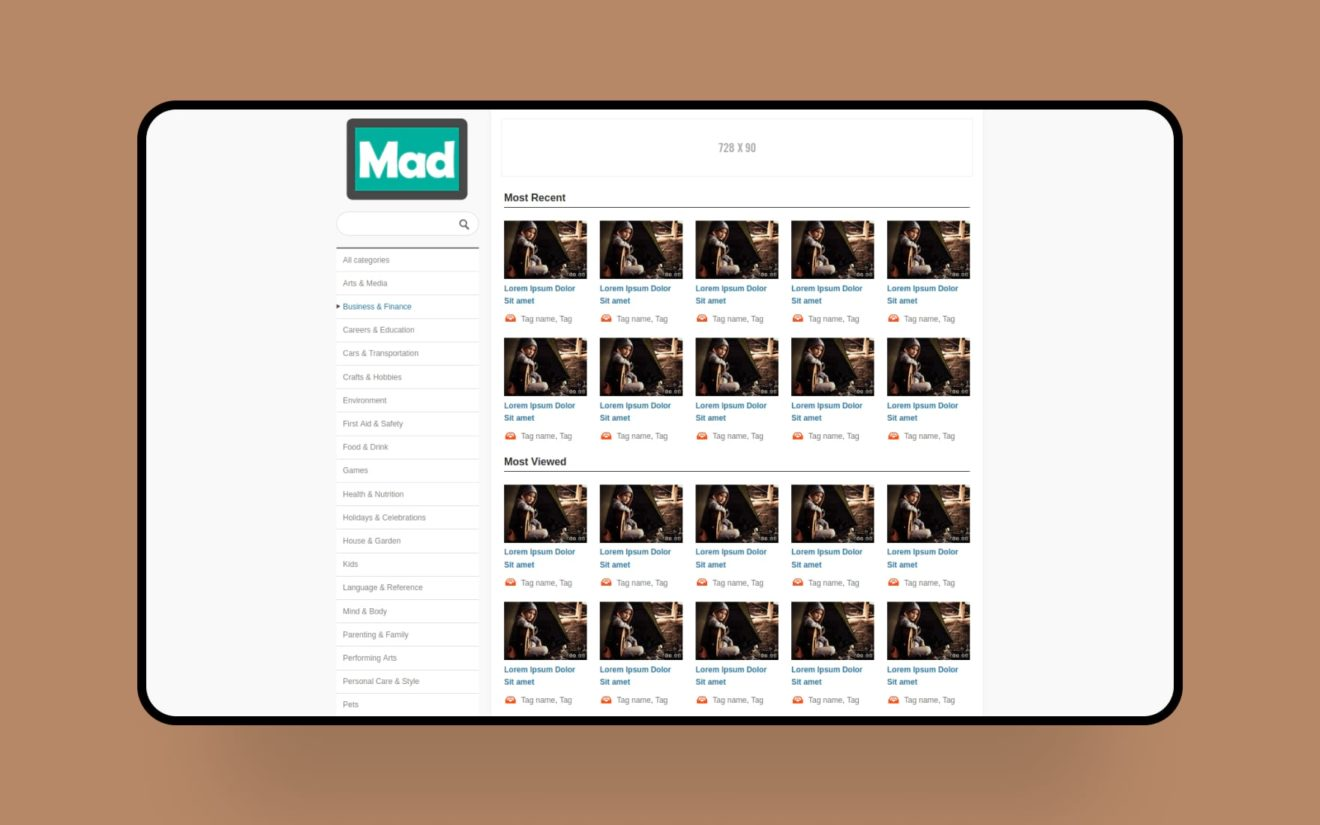 Mad – Free video sharing Mobile Website Template