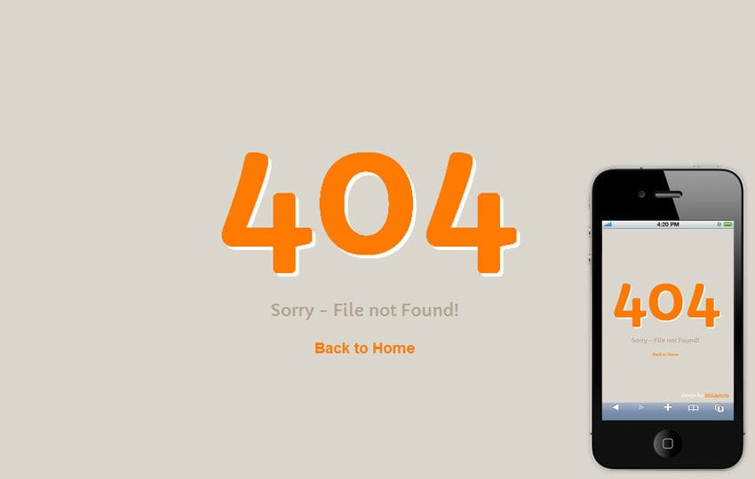 Funky 404 Page Not Found Mobile Website Template