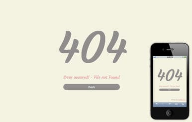 Error 404 Mobile Website Template