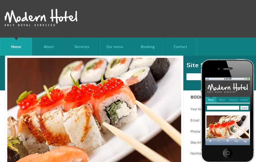 Free Modern Hotel Web template and mobile website template for hotels and restaurants