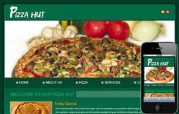 Free Pizza Hut web template and mobile website template for food corners