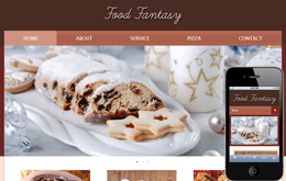 Food Fantasy web and mobile website template for free