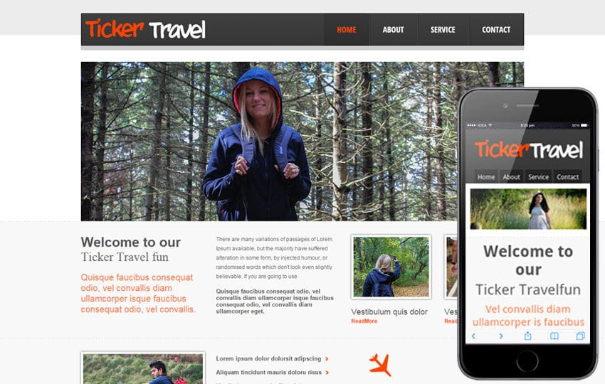 Ticker Travel web and mobile website template for free