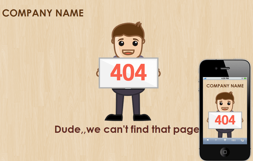 Poses 404 page not found mobile web template