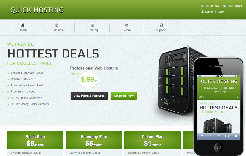 Quick Hosting Domain Sales Mobile web Template