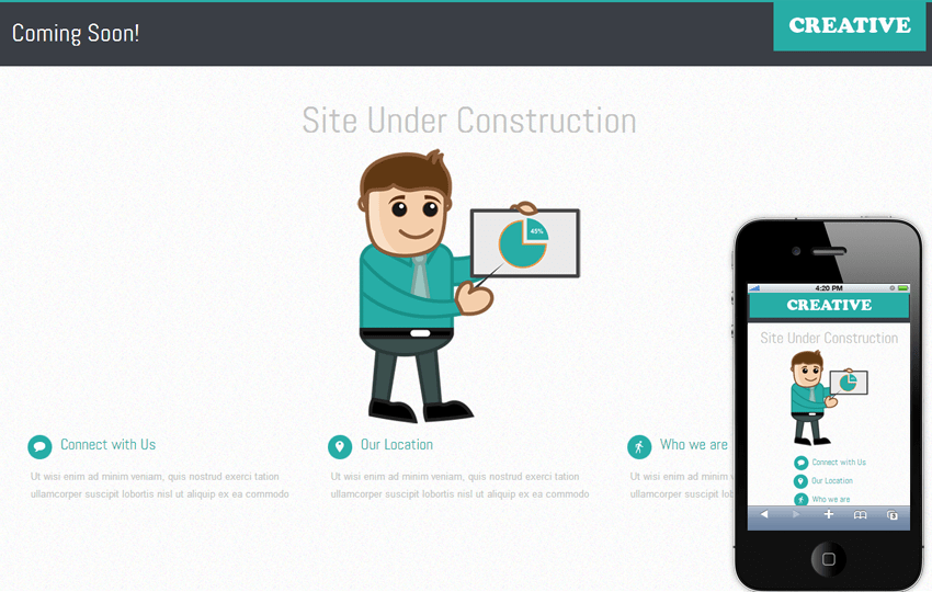 Creative Under Construction Mobile Website Template