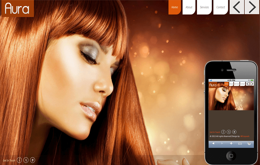 Aura Beauty Parlour Mobile Website Template