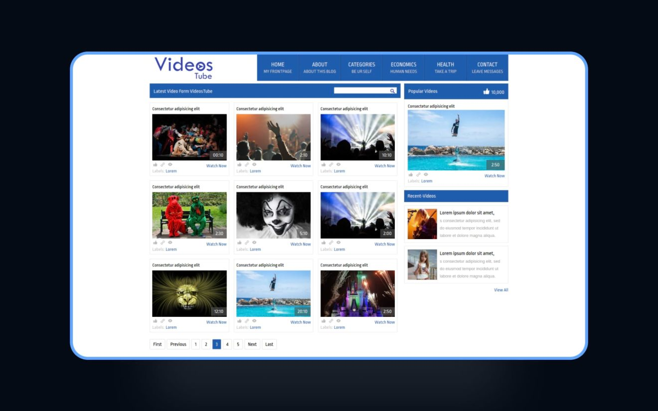 Videostube video gallery Mobile Website Template