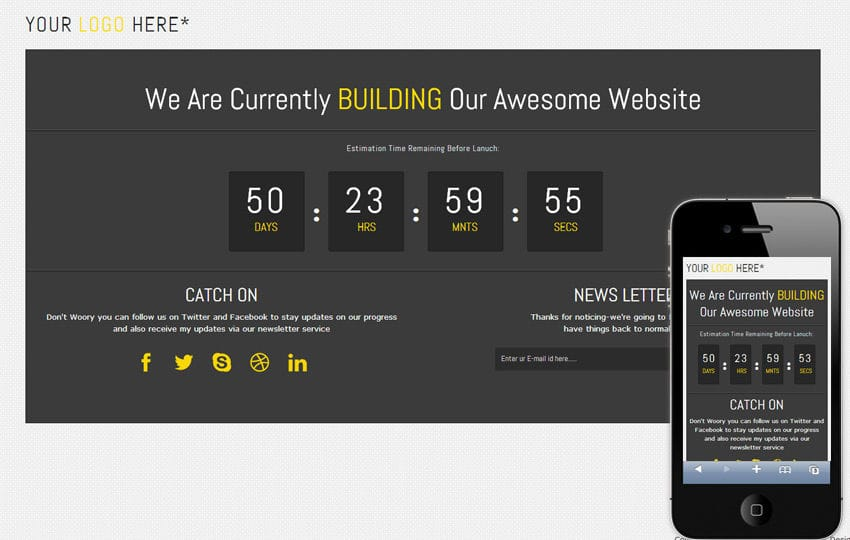 Dark Board Under Construction Mobile Website Template