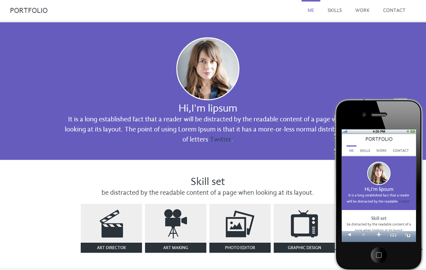 Portfolio personal web and Mobile Website Template