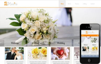 2Hearts a wedding planner Mobile Website Template