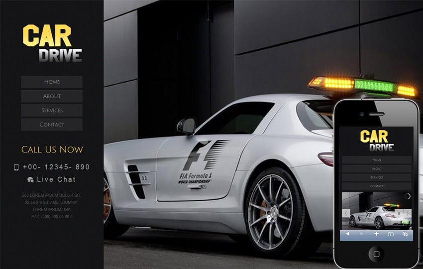 Car Drive automobile Mobile Website Template