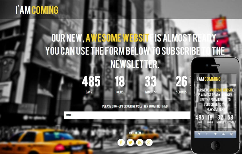 Am coming Under Construction Mobile Website Template