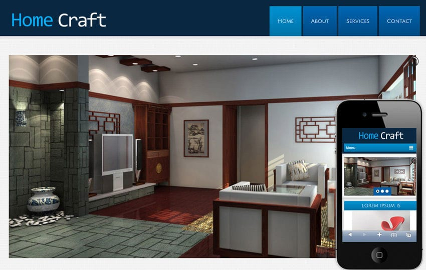 Home Craft a interior architects Mobile Website Template