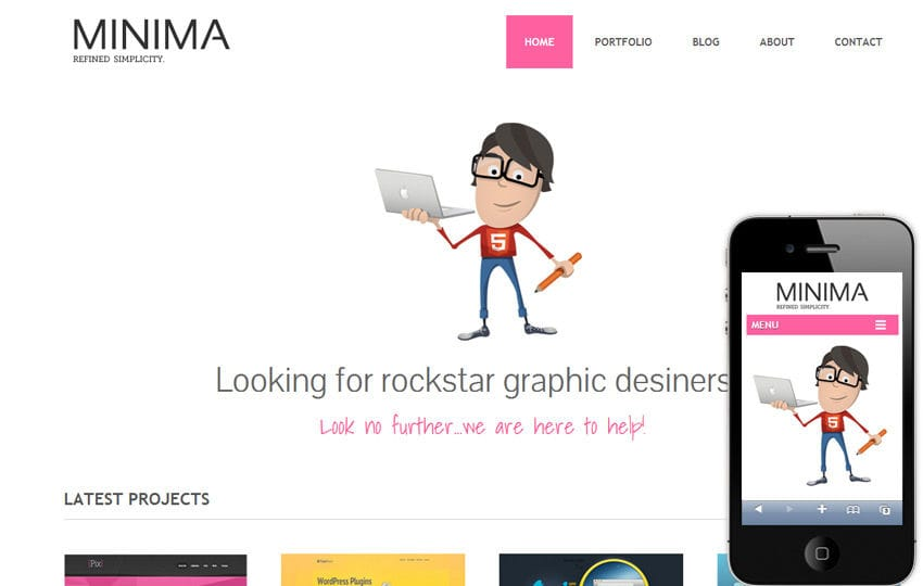 Minima Freebiesxpress Mobile Website Template