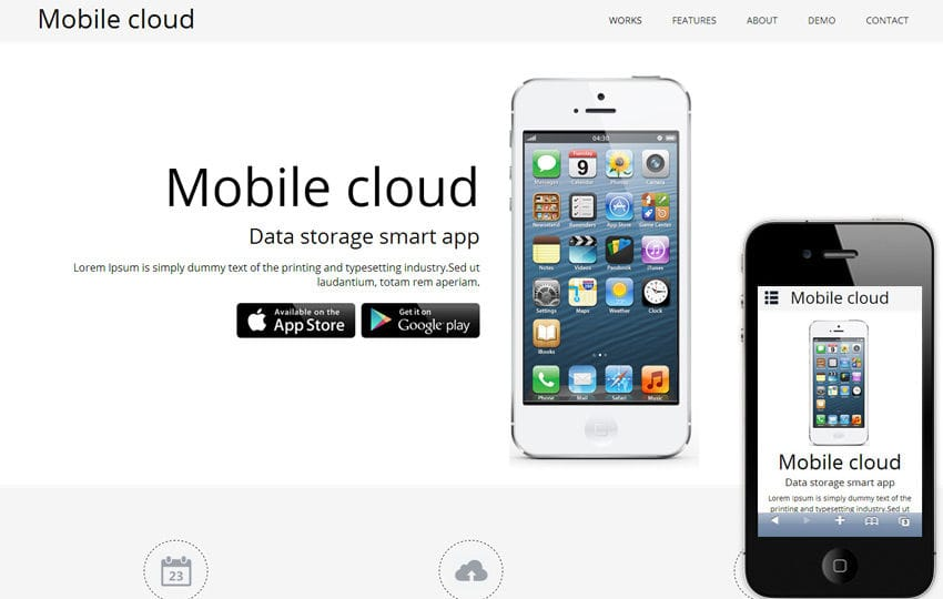 Mobile Cloud a App based Mobile Website Template