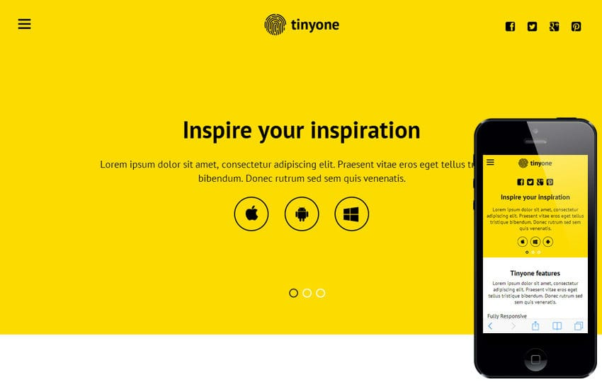 Tinyone a Mobile App based Flat Bootstrap Responsive web template