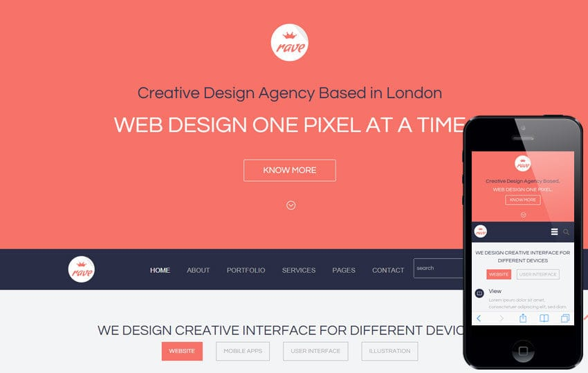 Rave a Corporate Portfolio Flat Bootstrap Responsive web template