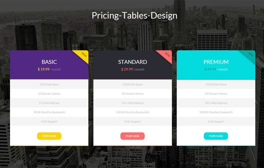 Flat Pricing Tables Design Widget Template