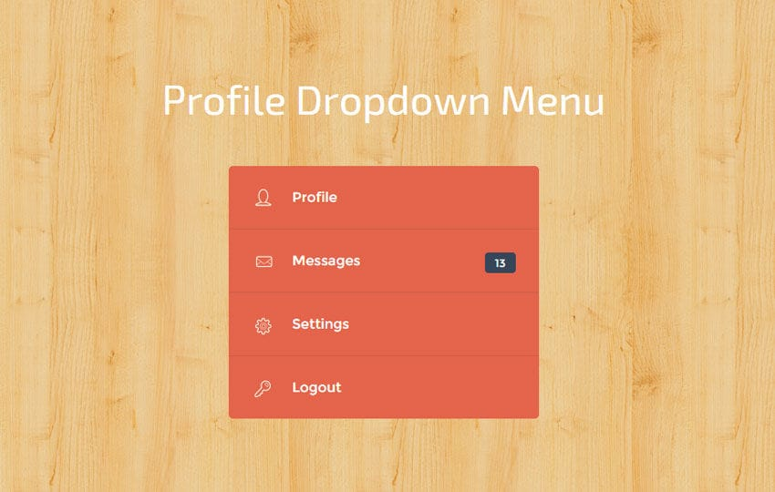 Profile Dropdown Menu Widget Template