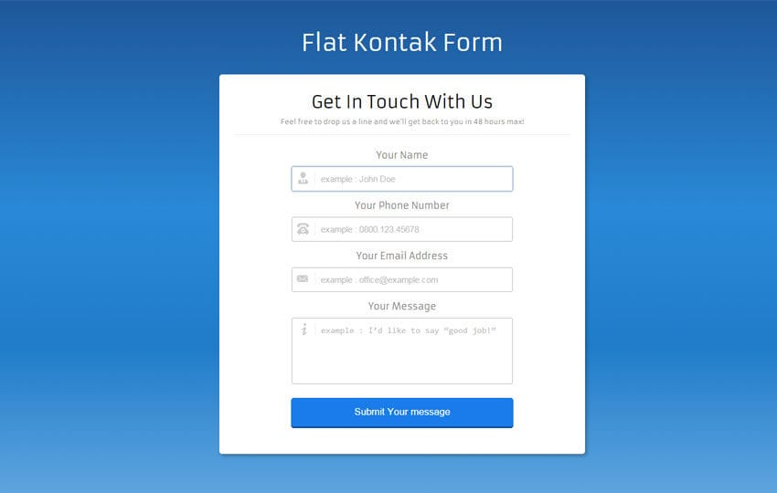 Kontak Form a Flat Contact Widget Template