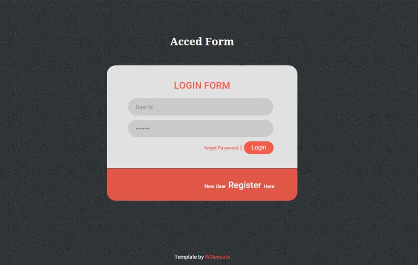 Acced Flat style Login Form Widget Template