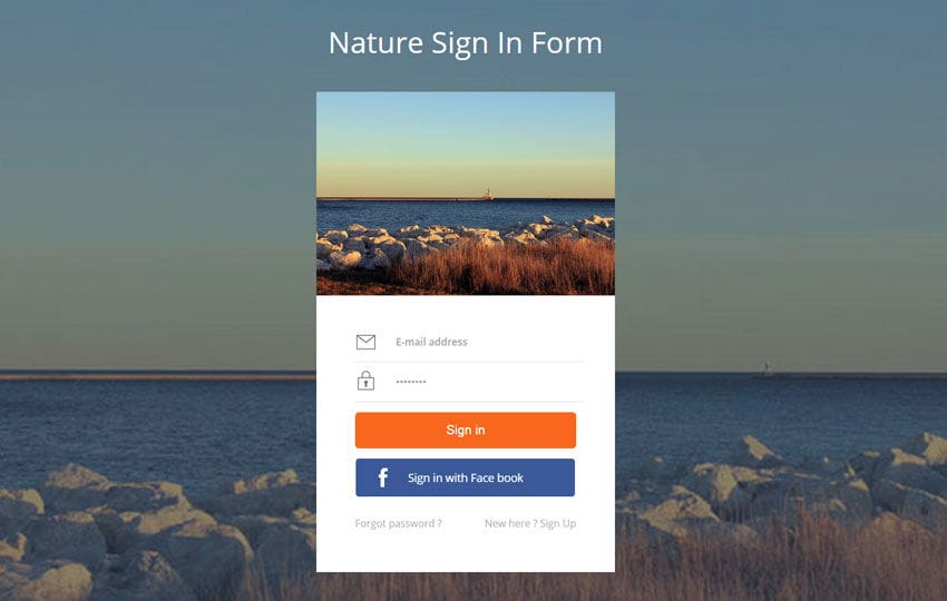 Nature Signin Form Flat Responsive Widget Template