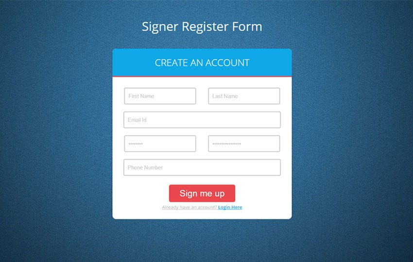 Signer Register Form Flat Responsive Widget Template