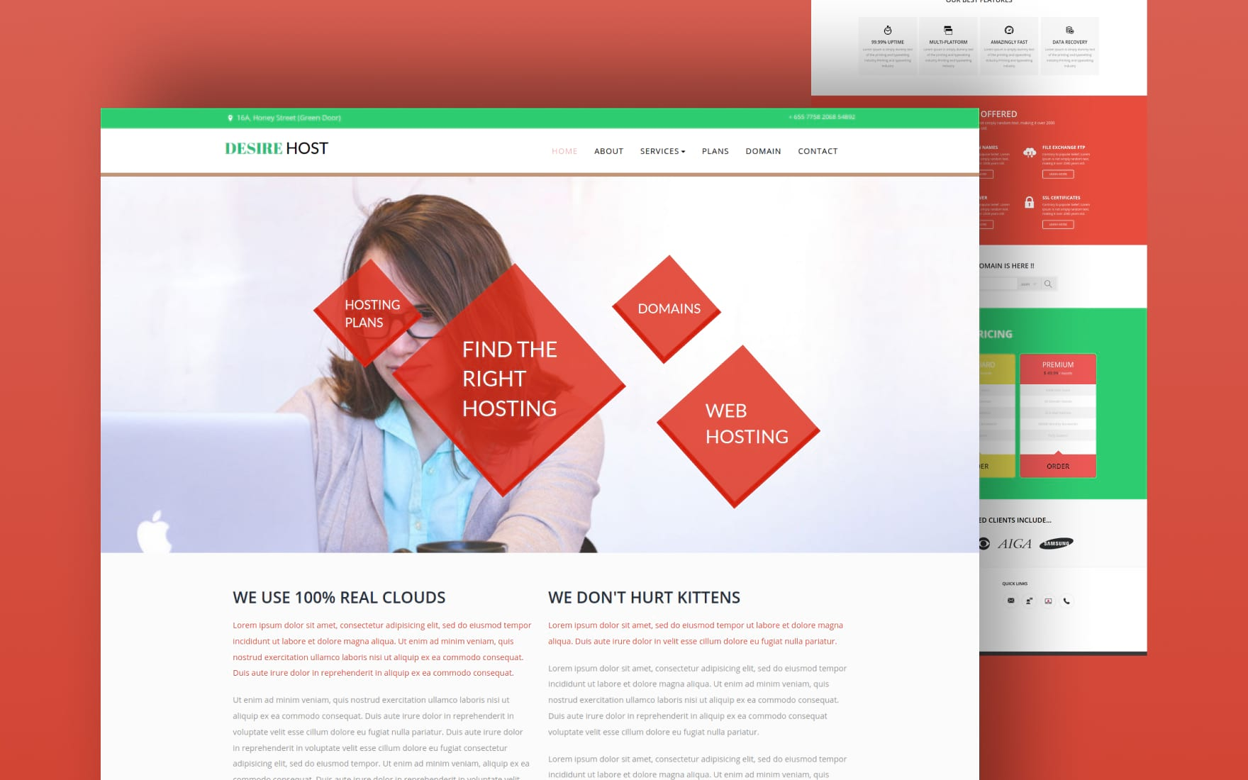 Desire Host a Web Hosting Flat Bootstrap Responsive Web Template