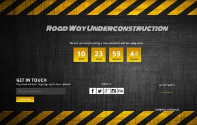 Road Way Under Construction Flat Responsive Web Template