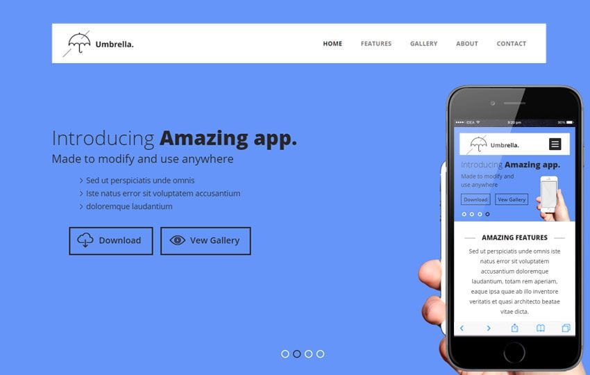 Umbrella V2 a Mobile App based Flat Bootstrap Responsive Web Template