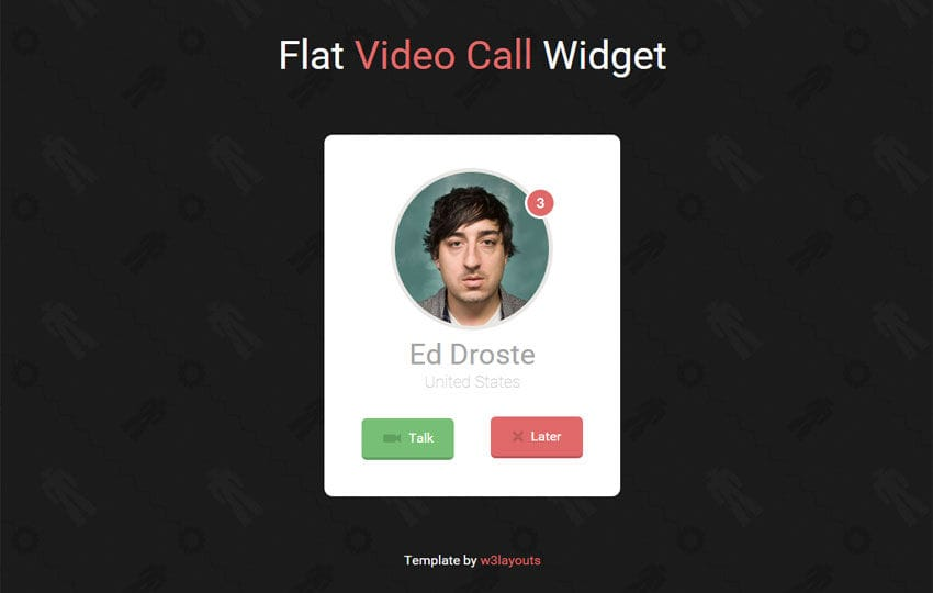 Flat Video Call Responsive Widget Template