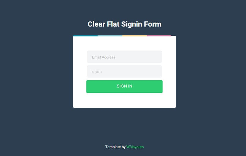 Clear Flat Sign In Form Responsive Widget Template