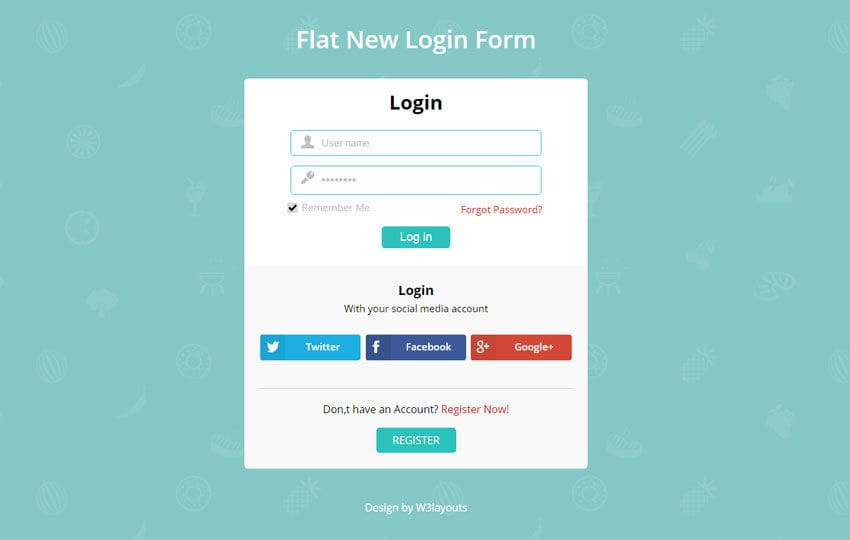 Flat New Login Form Responsive Widget Template