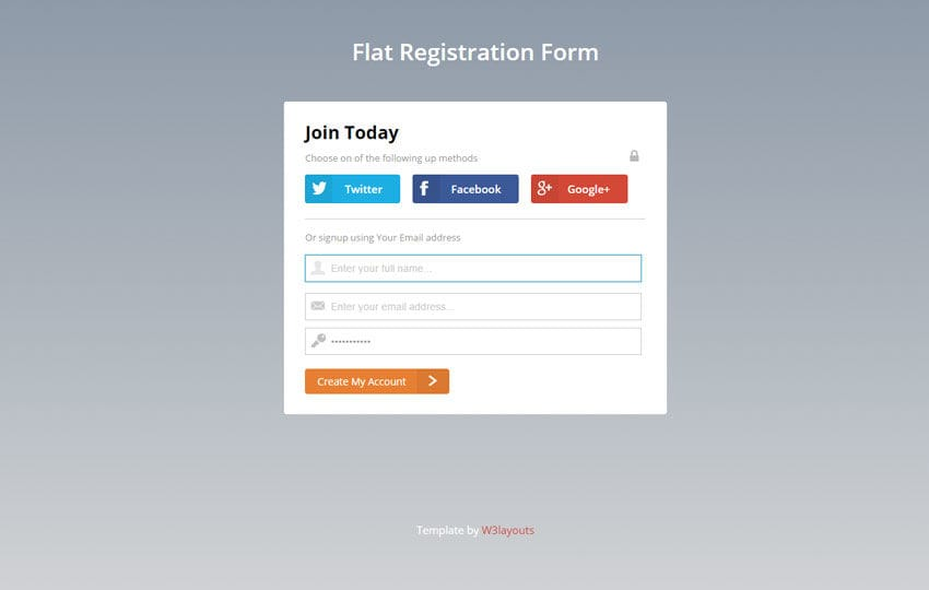Flat Registration Form Responsive Widget Template