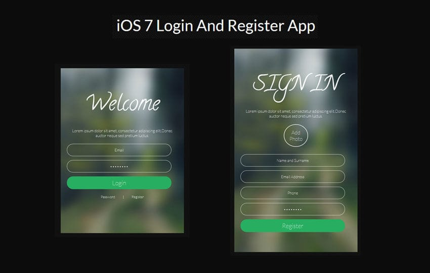 IOS7 Login Register App Responsive Widget Template