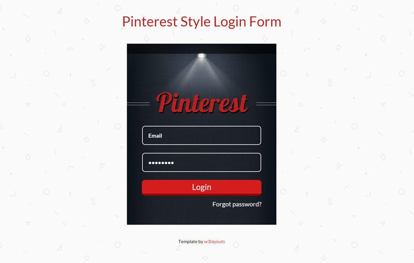 Pinterest Style Login Form Responsive Widget Template