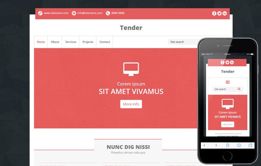 Tender a Multipurpose Flat Bootstrap Responsive Web Template