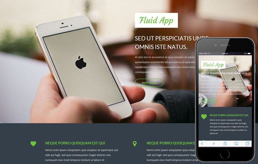 Fluid App a Mobile App based Flat Bootstrap Responsive Web Template