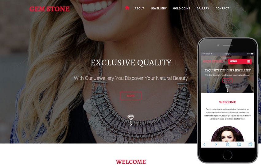 Gem Stone a Jewelry Category Flat Responsive Web Template