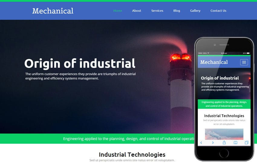 Mechanical a Industrial Category Flat Bootstrap Responsive Web Template