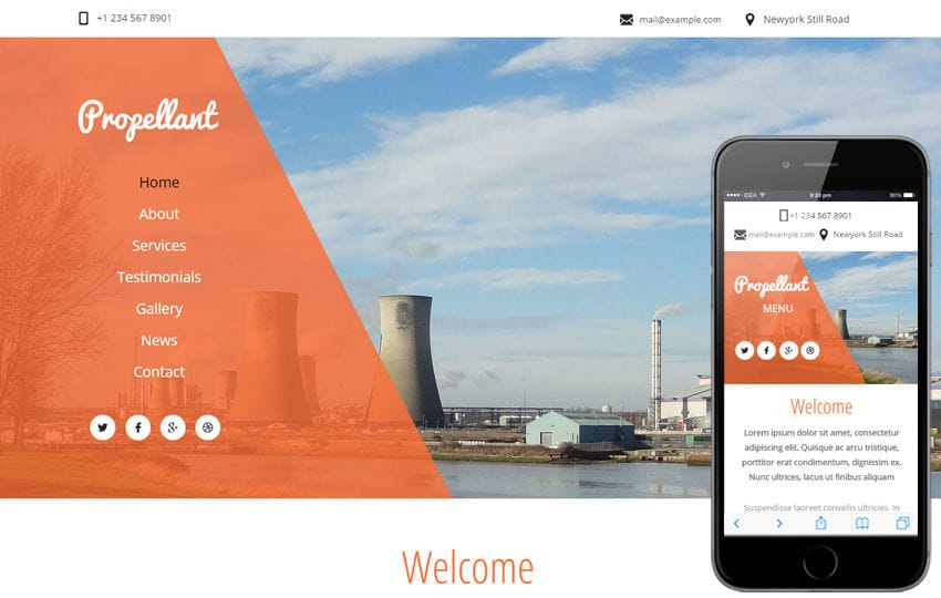 Propellant a Industrial Category Flat Bootstrap Responsive Web Template