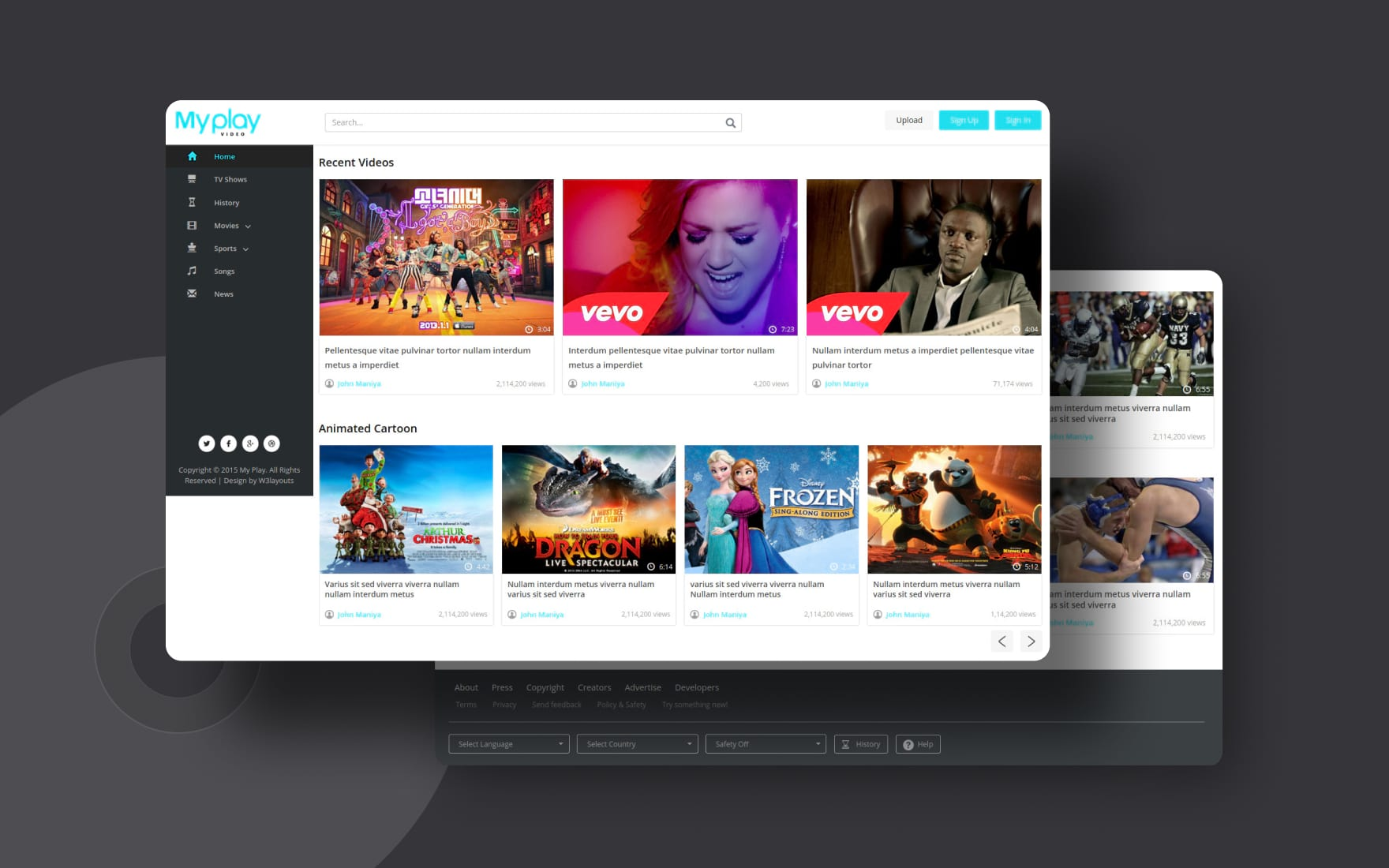 My Play a Video Content Portal Flat Bootstrap Responsive Web Template