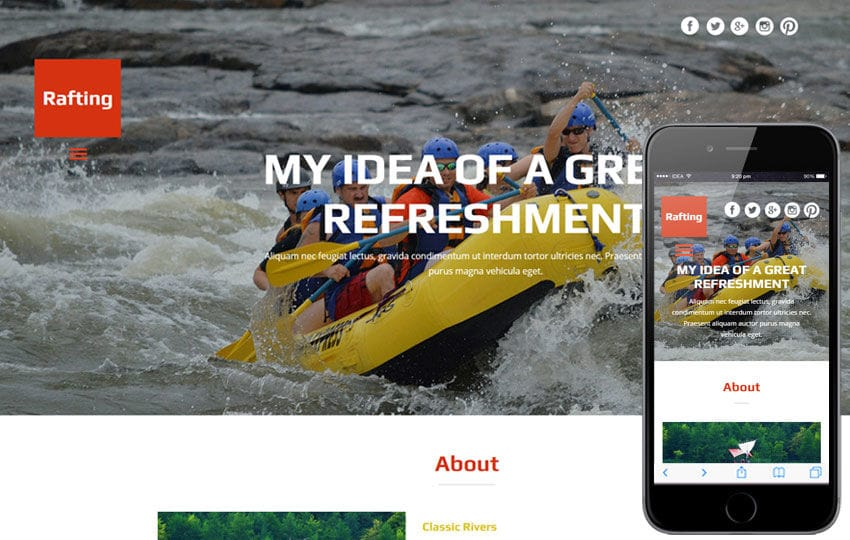 Rafting a Water Sports Category Flat Bootstrap Responsive Web Template