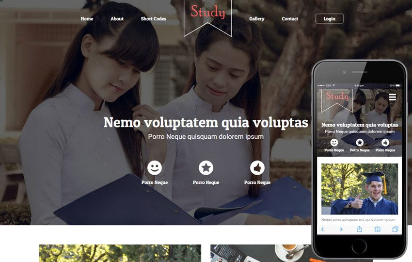 Study a Educational Category Flat Bootstrap Responsive web template