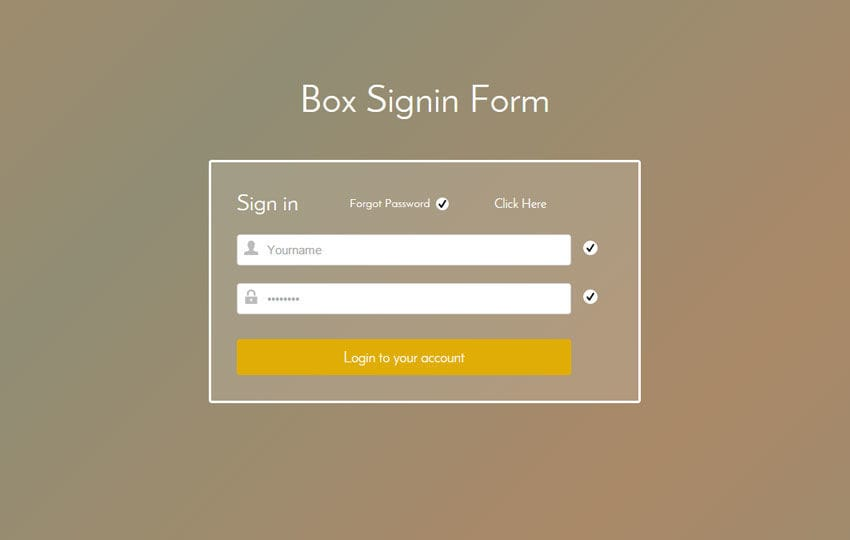 Box Signin Form Responsive Widget Template