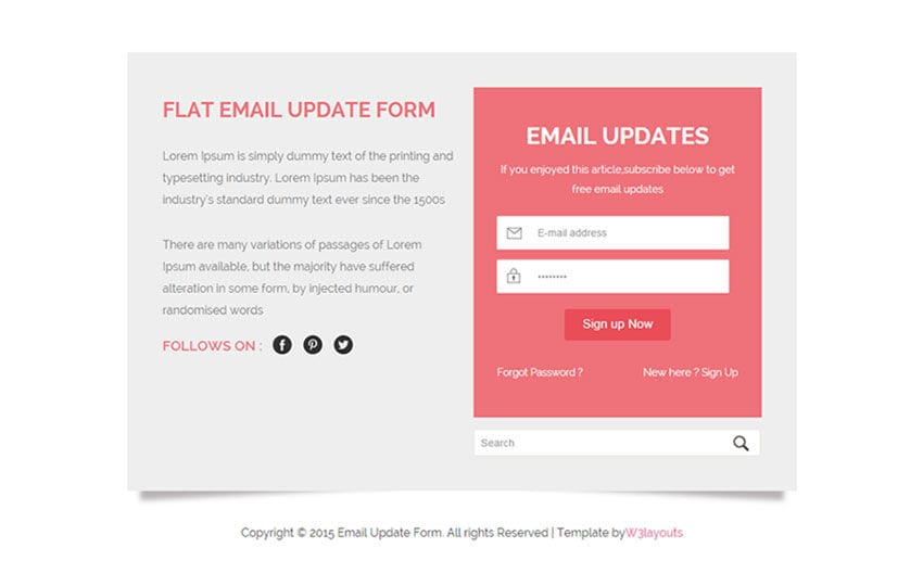 Flat Email Update Form Responsive Widget Template