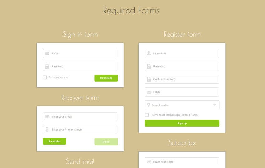 Required Forms Responsive Widget Template