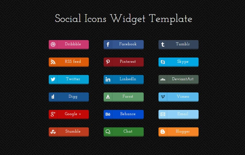 Social Icons Responsive Widget Template